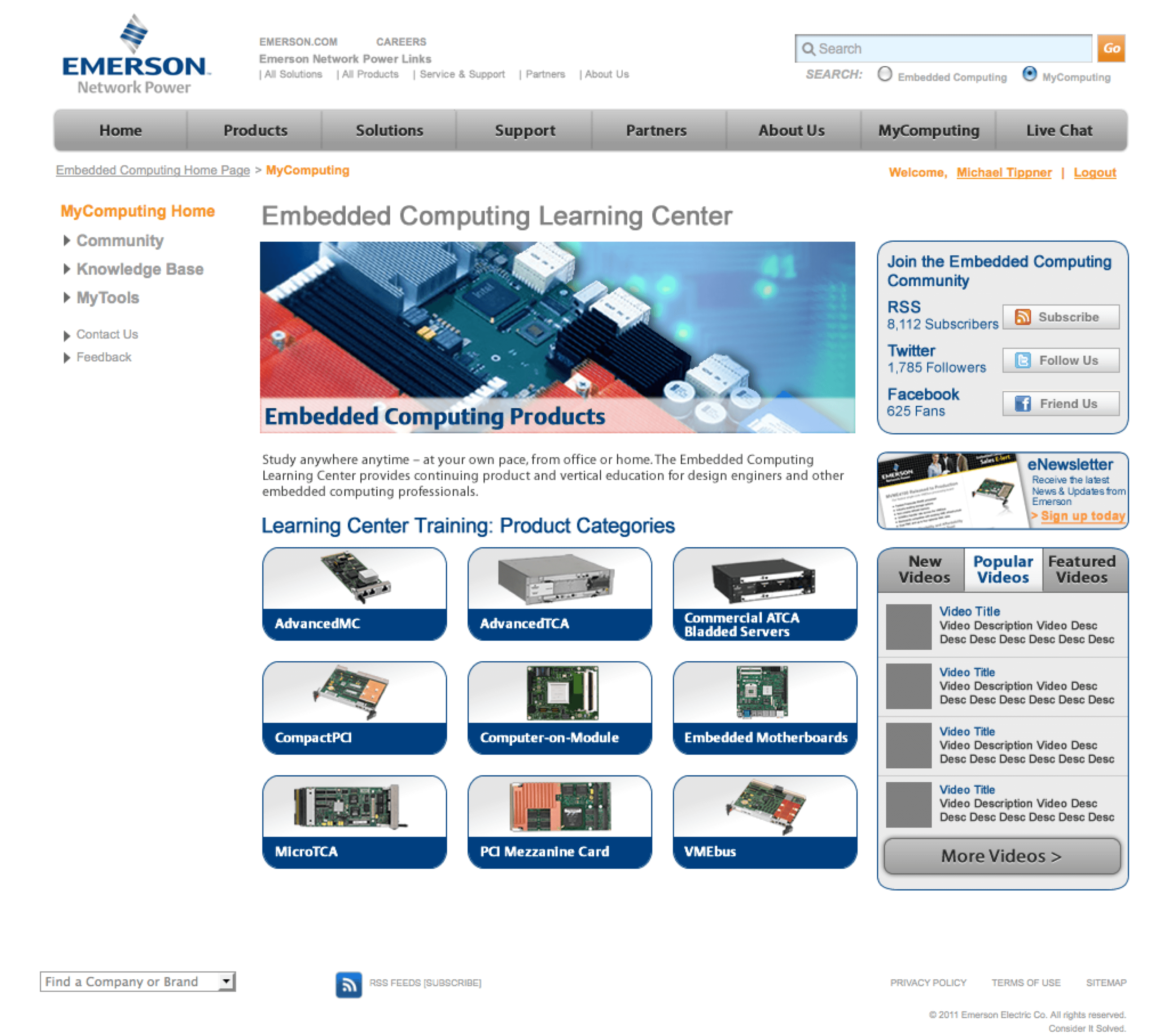 Emerson-Embedded-Computing-Extranet-Portal-Product-Training-Page