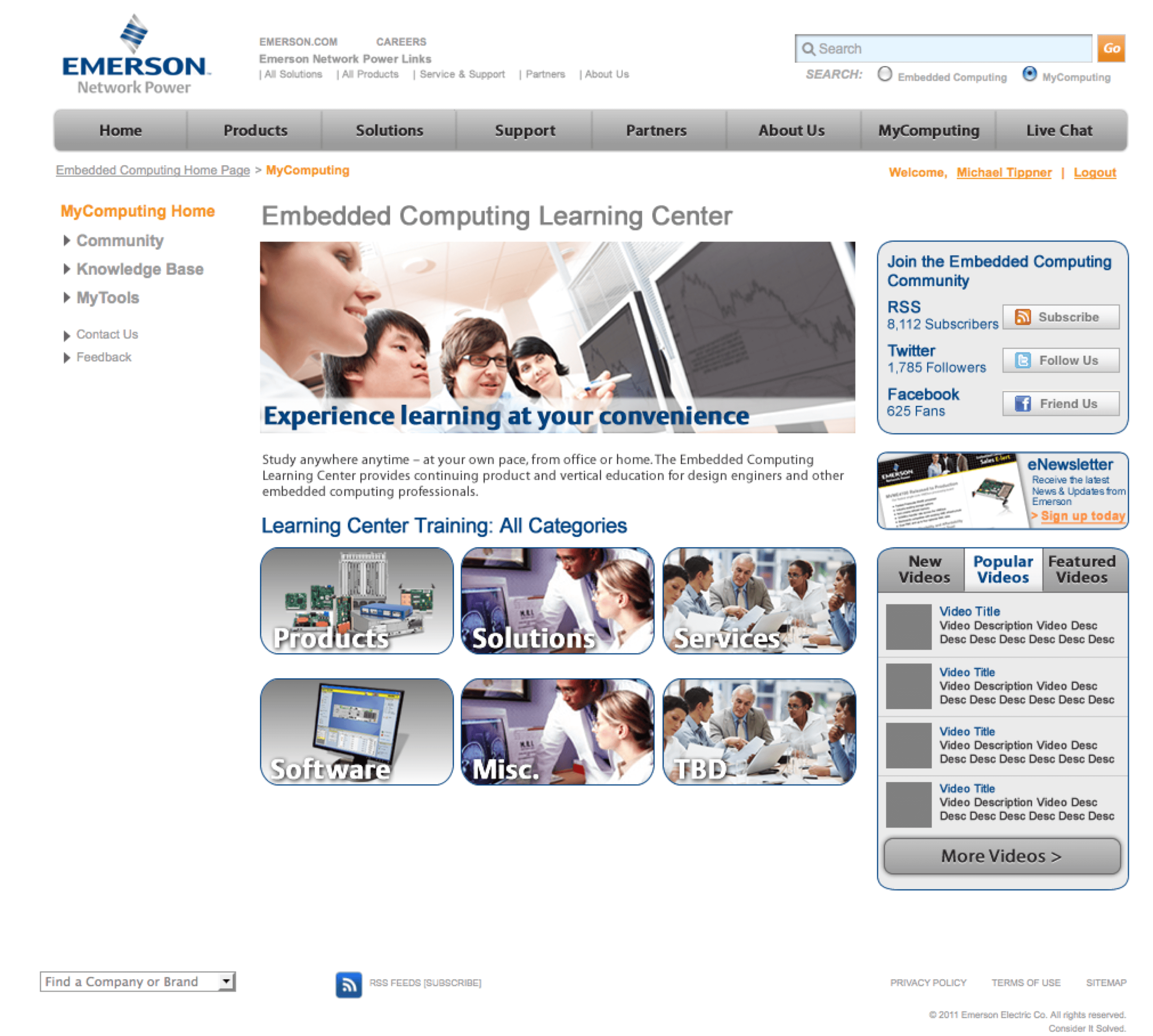 Emerson-Embedded-Computing-Extranet-Portal-Training-Page