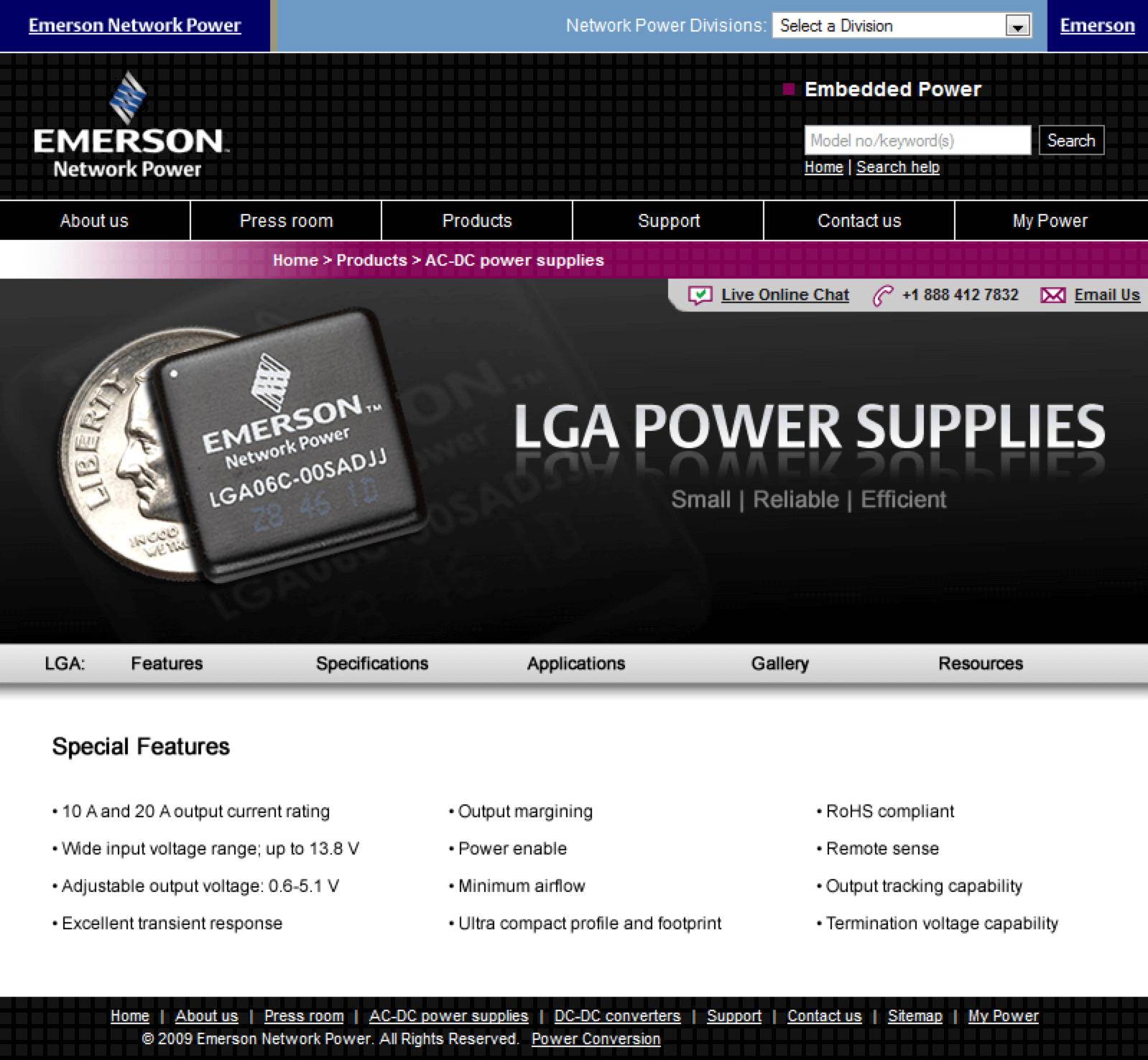 Emerson-LGA-Power-Supplies-Website-Design-Conference-Roadshow-Features