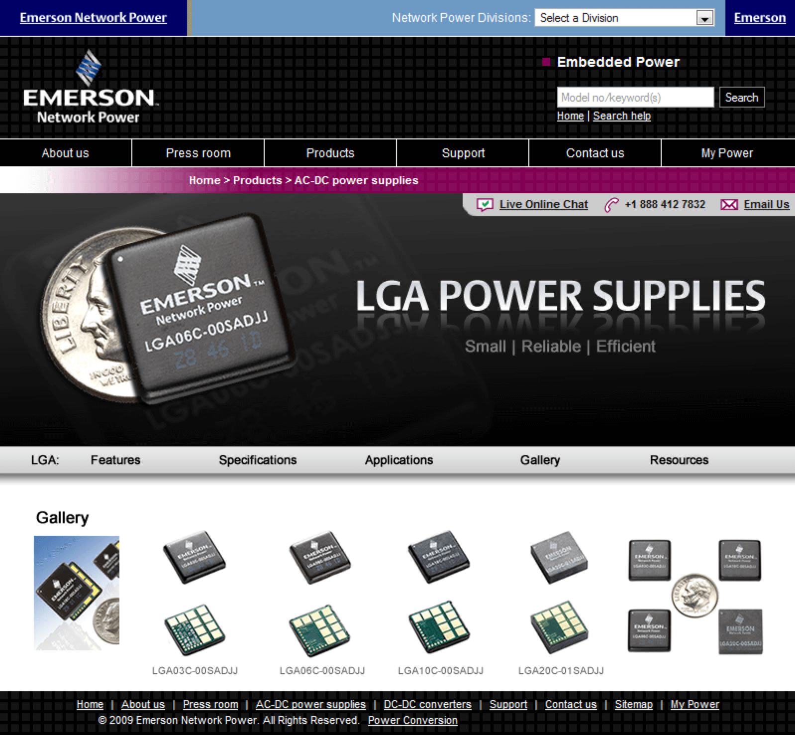 Emerson-LGA-Power-Supplies-Website-Design-Conference-Roadshow-Products
