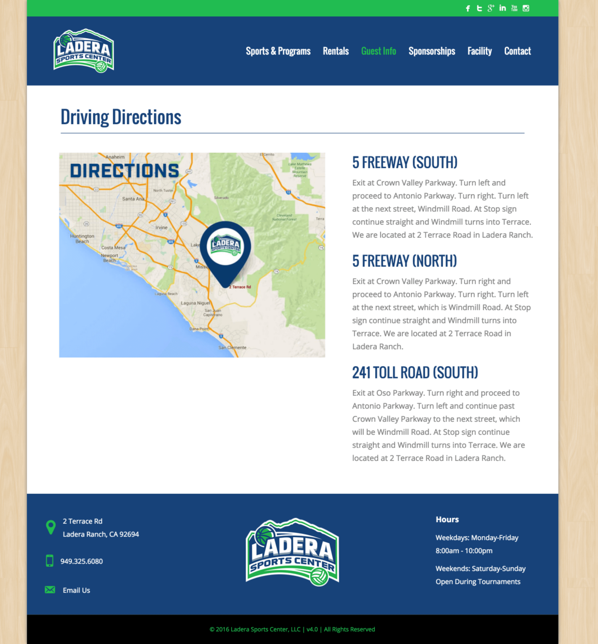 Ladera-Sports-Athletic-Center-Website-Design-Directions-Page