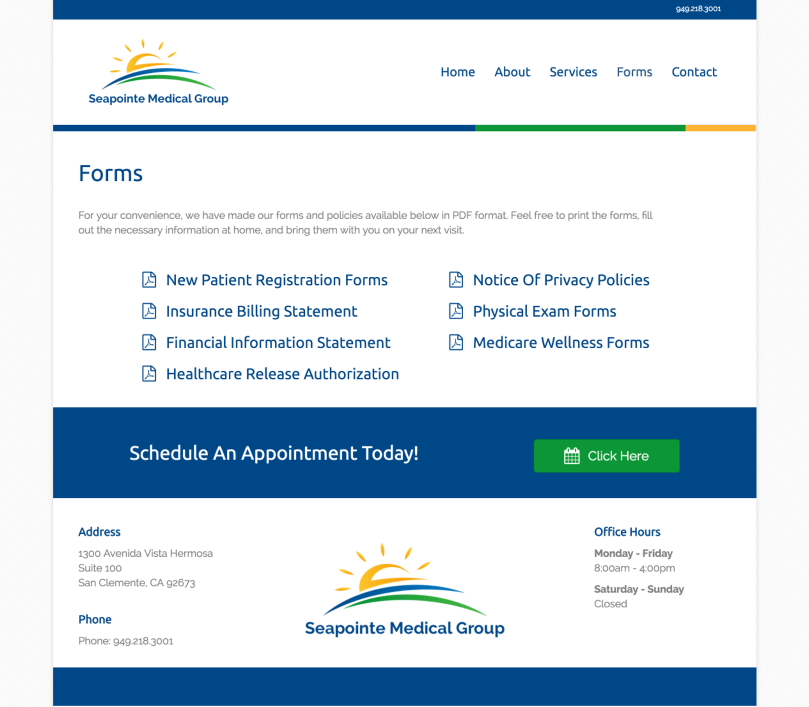 Seapoinite-Medical-Group-Doctors-Office-Website-Design-Forms-Page