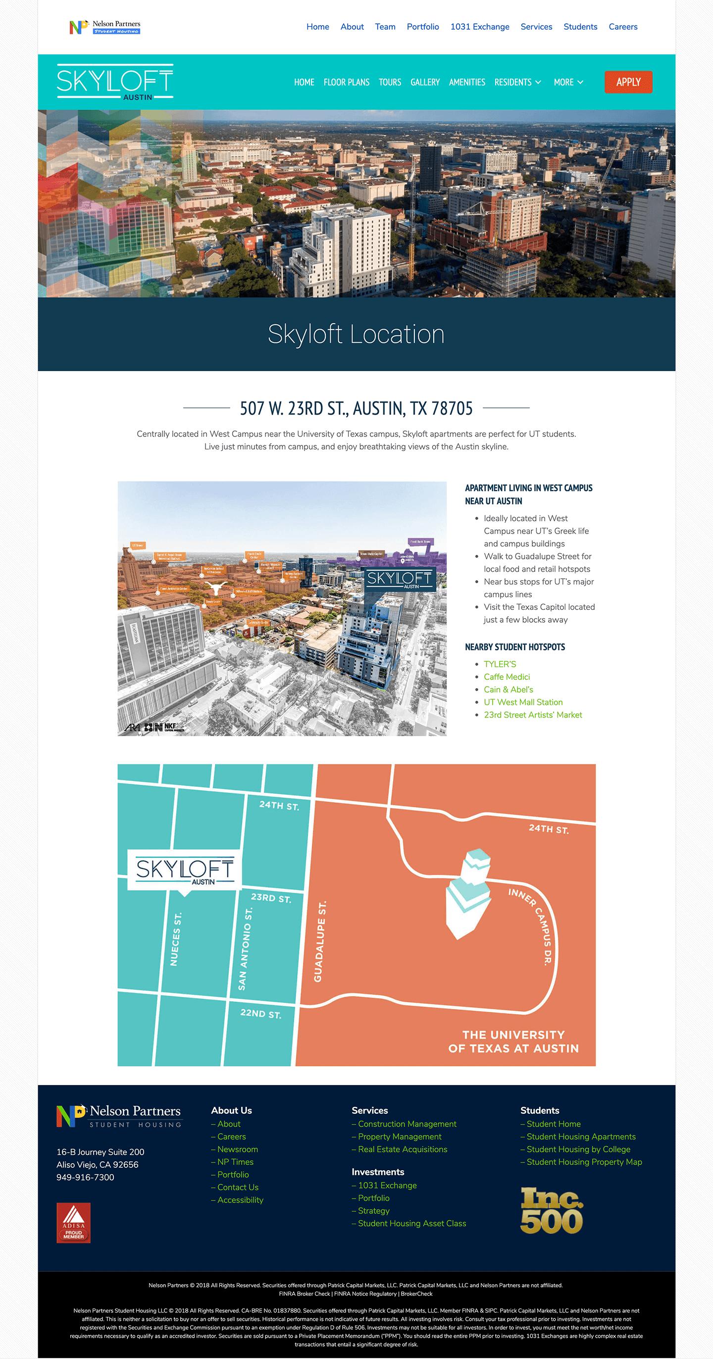 Skyloft-Student-Housing-Apartments-Website-Design-Location-Page