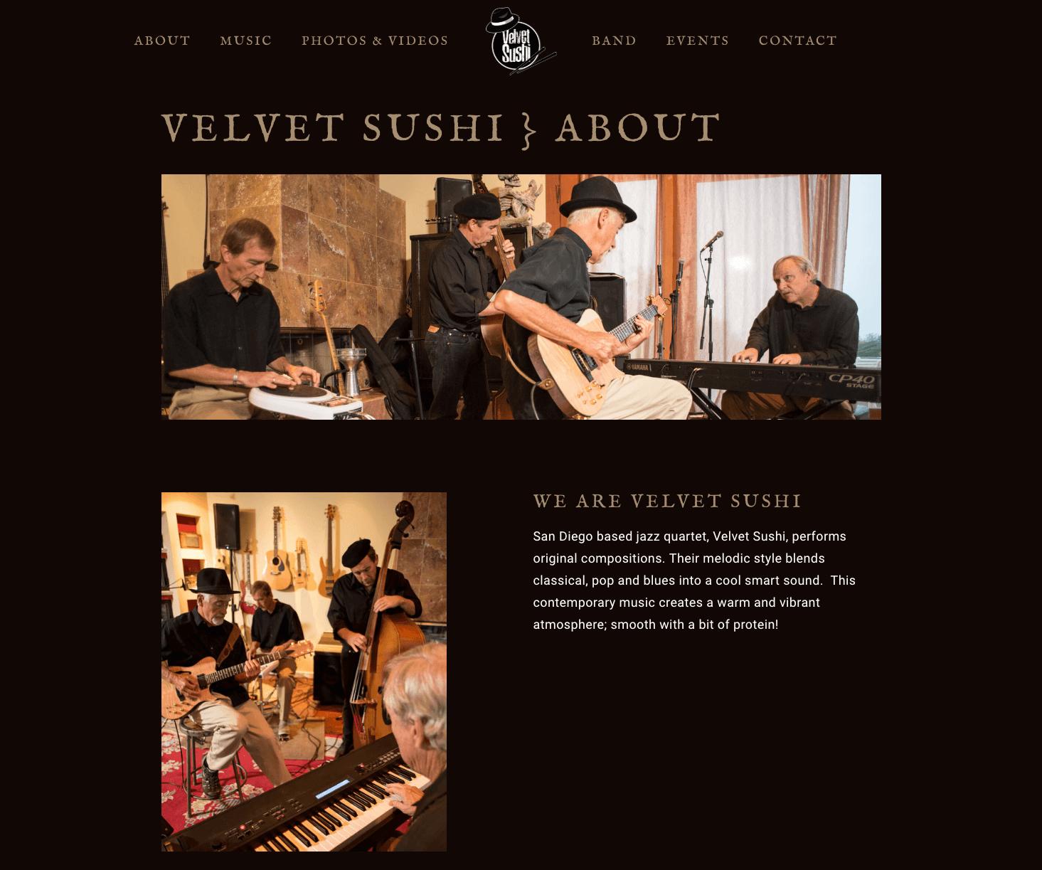 Velvet-Sushi-Jazz-Band-Website-Design-About-Page