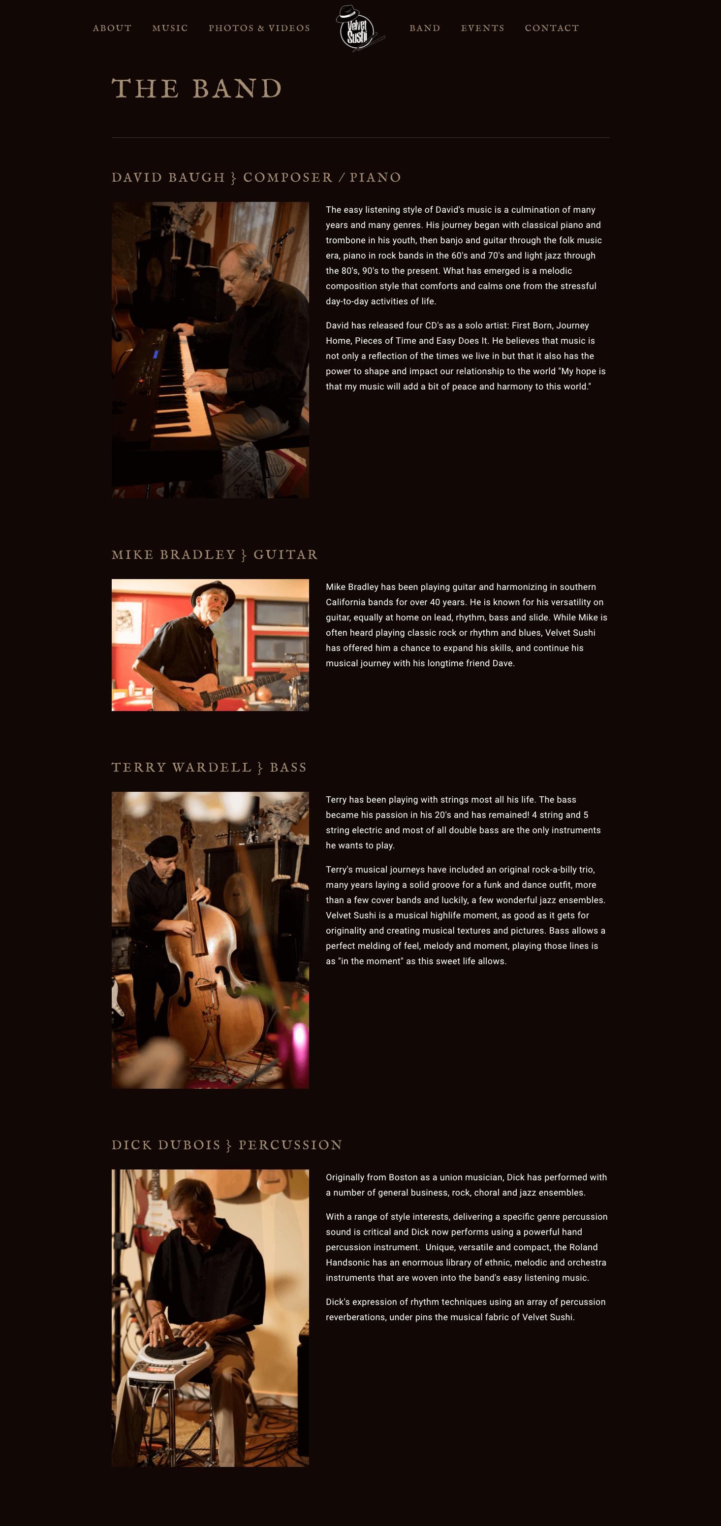 Velvet-Sushi-Jazz-Band-Website-Design-Bannd-Page