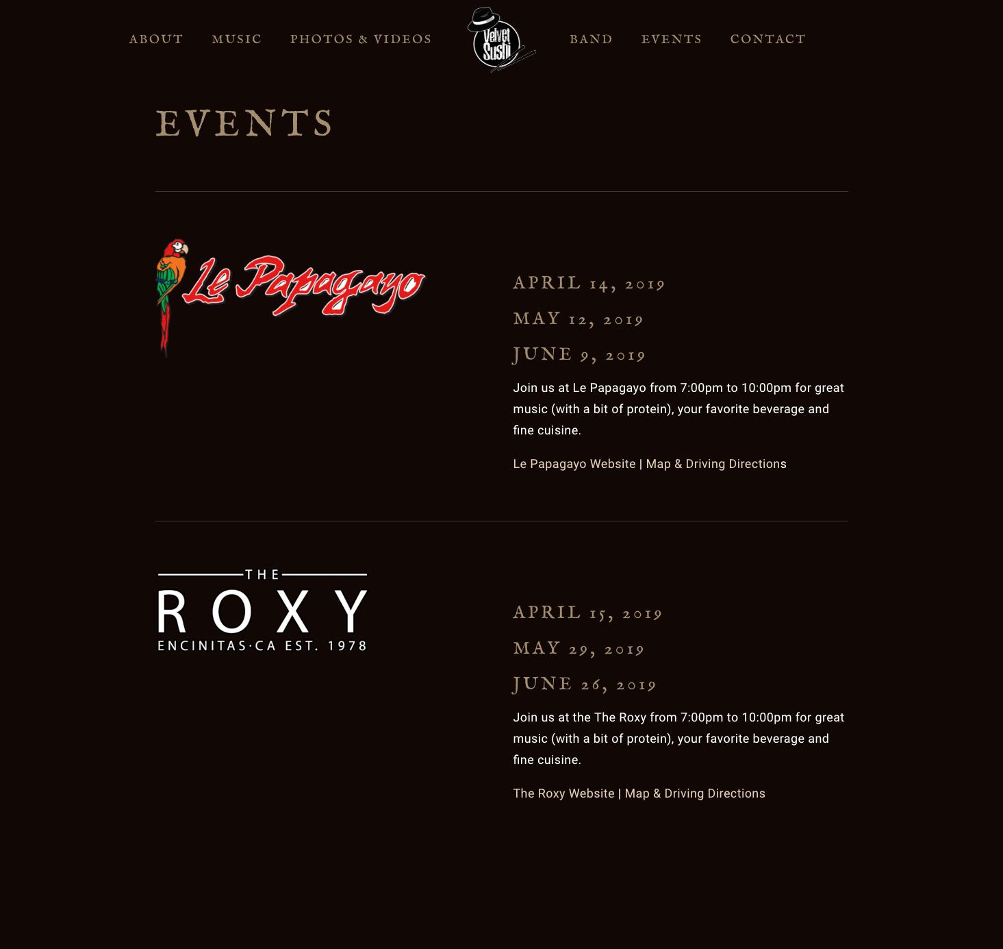 Velvet-Sushi-Jazz-Band-Website-Design-Events-Page