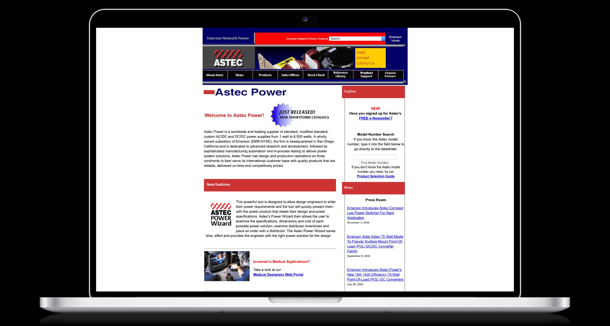 PHX-Web-Agency-Emerson-AC-DC-Power-Supplies-DC-DC-Converters-Website-Design-Before