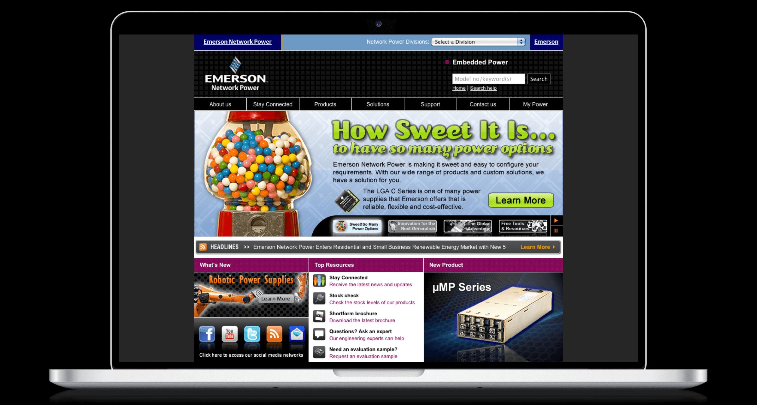 PHX-Web-Agency-Emerson-AC-DC-Power-Supplies-Website-Design-Before