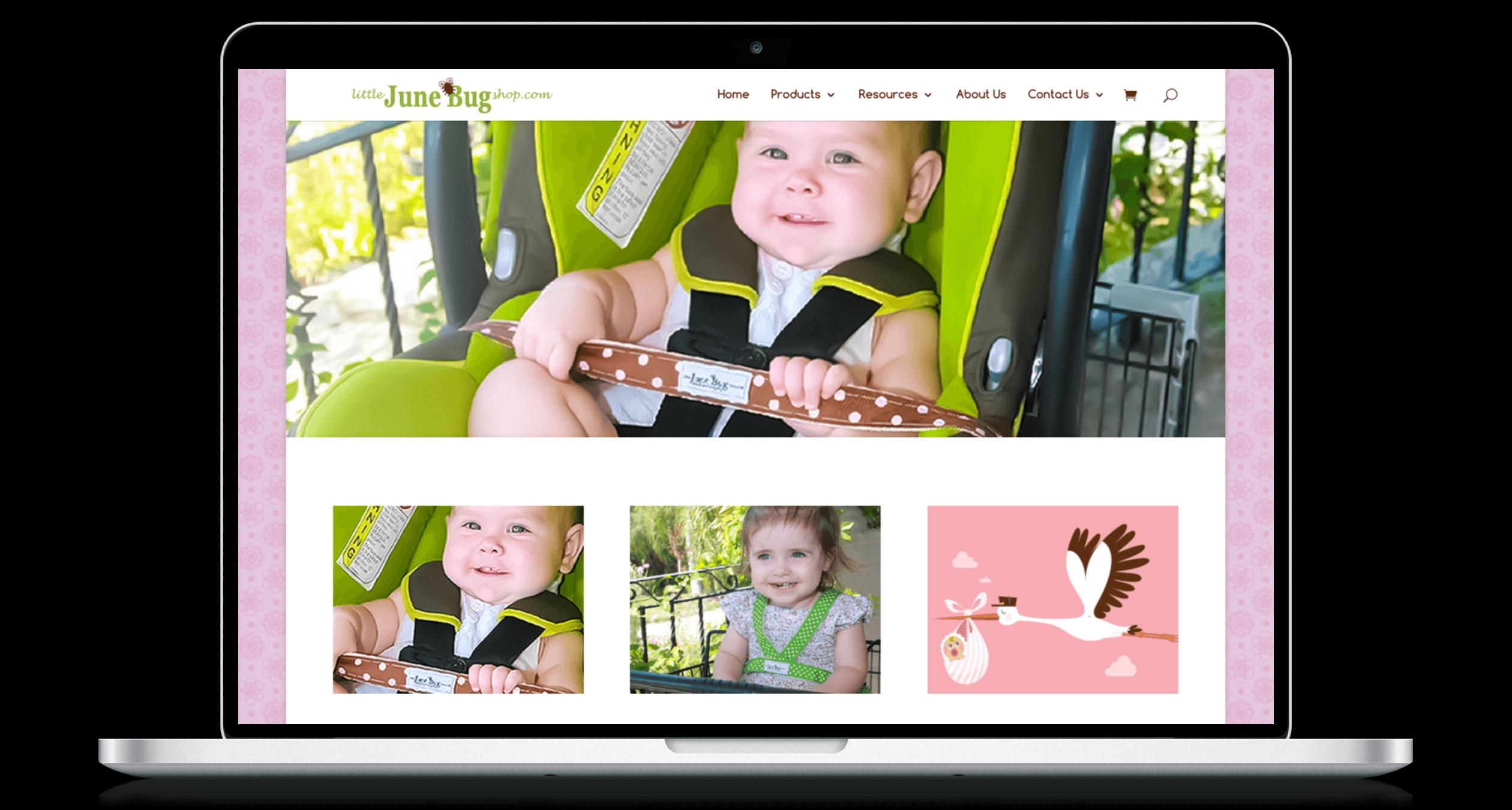 PHX-Web-Agency-Little-June-Bug-Shop-Child-Safety-Belts-Website-Design-Before