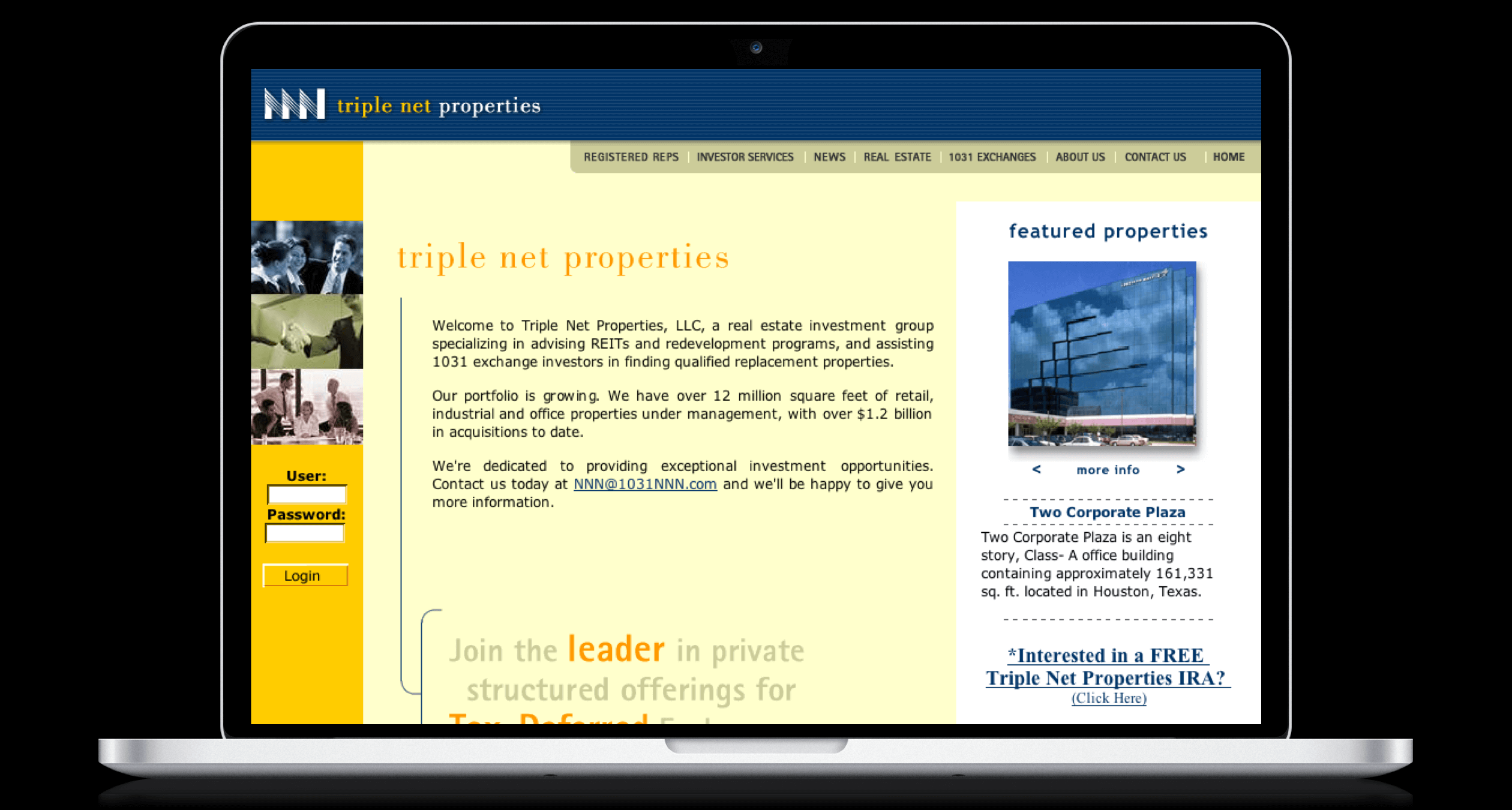 PHX-Web-Agency-Triple-Net-Properties-NNN-Real-Estate-Invetment-Trusts-REITS-1031-Exchange-Website-Design-Before